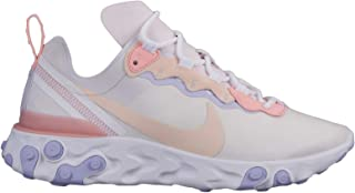 Nike W React Element 55 Womens Sneakers BQ2728-601, Pale Pink/Washed Coral-Oxygen Purple, Size US 9
