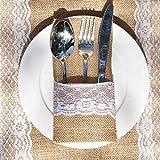 Awtlife, Utensilienhalter aus Sackleinen, für Besteck, Messer, Gabeln, Tasche für Vintage-Hochzeit, 60 Stück