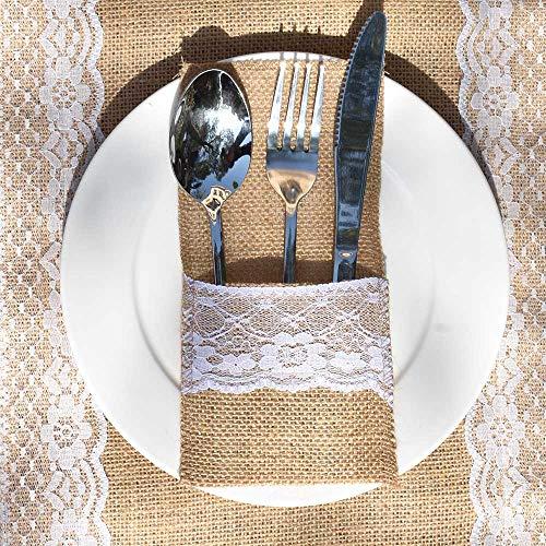 Awtlife Lot de 60 porte-ustensiles en toile de jute en dentelle - pour couverts, couteaux et fourchettes pour mariage vintage
