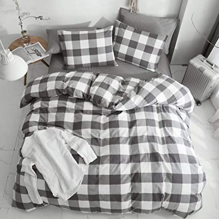 HYPREST 100% Washed Cotton 3 Pcs Duvet Cover King - Gray Buffalo Plaid Comforter Cover King - Ultra Soft Comfortable King Bedding Set (Not Including Comforter and Sheet)