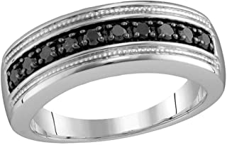 GemApex Mens Black Diamond Wedding Band Sterling Silver Ring Round Milgrain Fashion Polished Finish Fancy 1/2 ctw