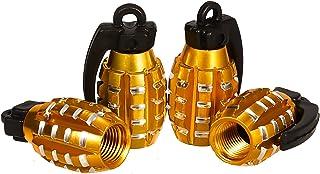 KINBOM 4 Delig Aluminium Ventieldoppen, Handgranaatstijl Zwaar Uitgevoerd Ventieldoppen voor Banden Luchtdichte Afdichting...