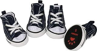 URBEST 4 Pcs Pet Dog Puppy Canvas Sport Shoes, Sneaker Boots, Outdoor Nonslip Causal Shoes (8#, Blue)