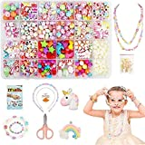 Coolba Perles Bracelet Bijoux Enfants kit, Bricolage Perle Set DIY Beads pour Fabrication de Bracelets,Collier,Art Craft&Kit Fabrication Bijoux pour Filles,Arts Creatif Enfants(24 Types,500 Pièces+)
