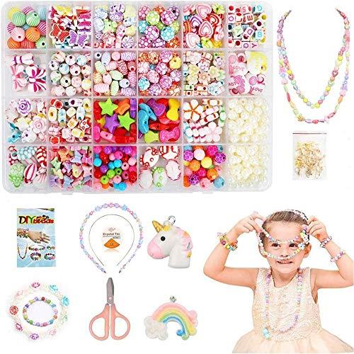 Coolba Perline per Braccialetti Bambini Perline per Collane Bambina Fai da Te Creazione di Gioielli Bambina , Perline Lettere per Braccialetti Kit Perline per Ragazze (24 Tipi )