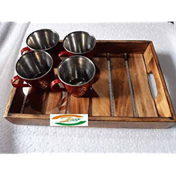 INDIA BIG SHOP Wooden Tray with Antique Touch/Serving Tray/Decorative Fruit/Dinner Breakfast Serving Tray (Made in India)