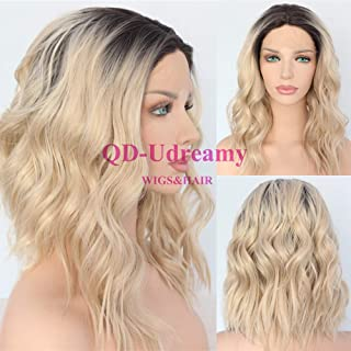 QD-Udreamy Ombre Blonde Wigs Black Roots Short Wavy Hand Tied Heat Resistant Glueless Synthetic Lace Front Wigs for Women Daily Wear
