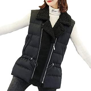 Women's Cotton Vest Lamb Hair Warm Sleeveless Zipper Lapel Collar Gilet Autumn and Winter Casual Vest Jacket Cardigan Outerwear (Color : Black, Size : L)