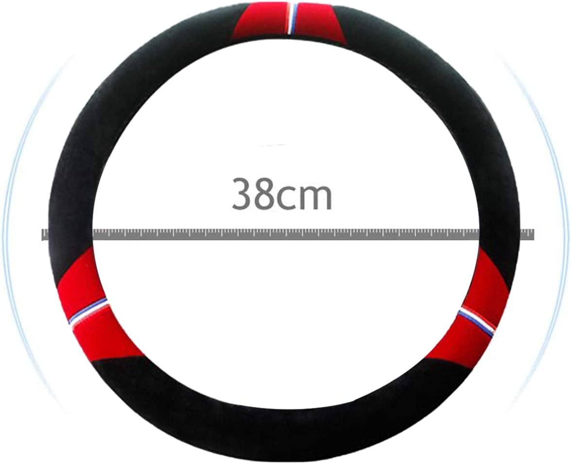 Plush Steering Wheel Cover Steering Wheel Wrap Elastic Warm Microfiber Plush Cover Comfortable Durable Breathable Anti-Slip Universal Size Heiqlay Steering Wheel Covers Fluffy 1pc, 38cm, Red