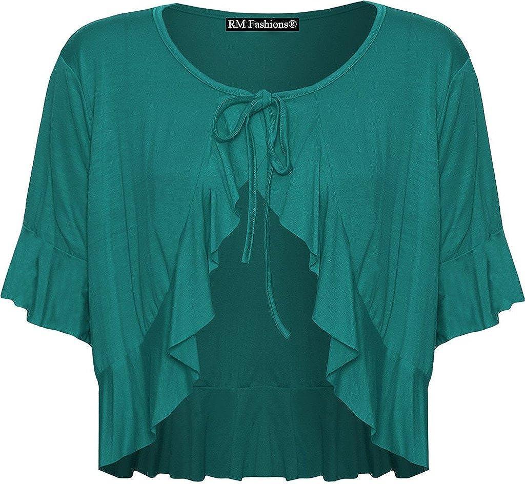 RM Fashions Women's Plus Size Frill Tie Bolero Shrug Cardigan - Teal - US 22-24 (UK 26-28)