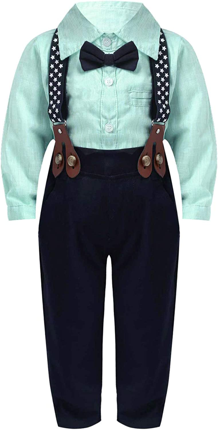 CHICTRY Baby Boys 3PCS Wedding Suit Bowtie Long Sleeve Shirt Suspender Pants Gentleman Outfit Set