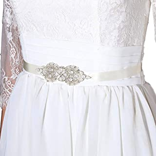 Aukmla Silver Bridal Belt Pearls Wedding Sash Acrylic Rhinestones Waist Belts for Brides and Bridesmaids belt-06