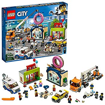 LEGO City Donut Shop Opening 60233 Store Opening Build and Play with Toy Taxi Van and Truck with Crane Easy Build with Minifigures for Boys and Girls  790 Pieces