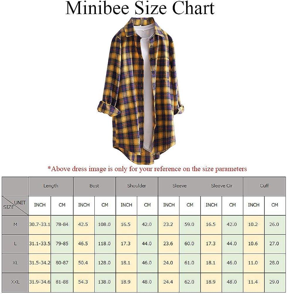 Minibee Women's Cotton Blouses Tops Plaid Long Sleeve High Low Button Down Shirts Tunic