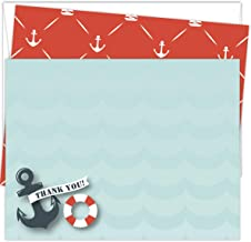 Koko Paper Co Nautical Thank You Cards   25 Flat Note Cards and Envelopes   Printed on Heavy Card Stock.