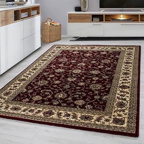 Fabelia Orientalischer Teppich Troja - Klassischer Teppich mit orientalisch-europäischen Designs (160 x 230 cm, Rot)