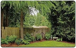 "C COABALLA Farm House Decor Durable Print Floor Mat,Backyard Area Shadow Under Pine Trees Featured Rustic Fence Zen Outdoor Photo for Home Office,23""L x 15""W"