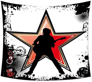Luoiaax Rock Music Grateful Dead Tapestry Guitar Player Star Abstract Monochrome Splashes and Halftone Frame Pattern Wall Decor for Bedroom Tapestry W91 x L60 Inch Black Red Peach
