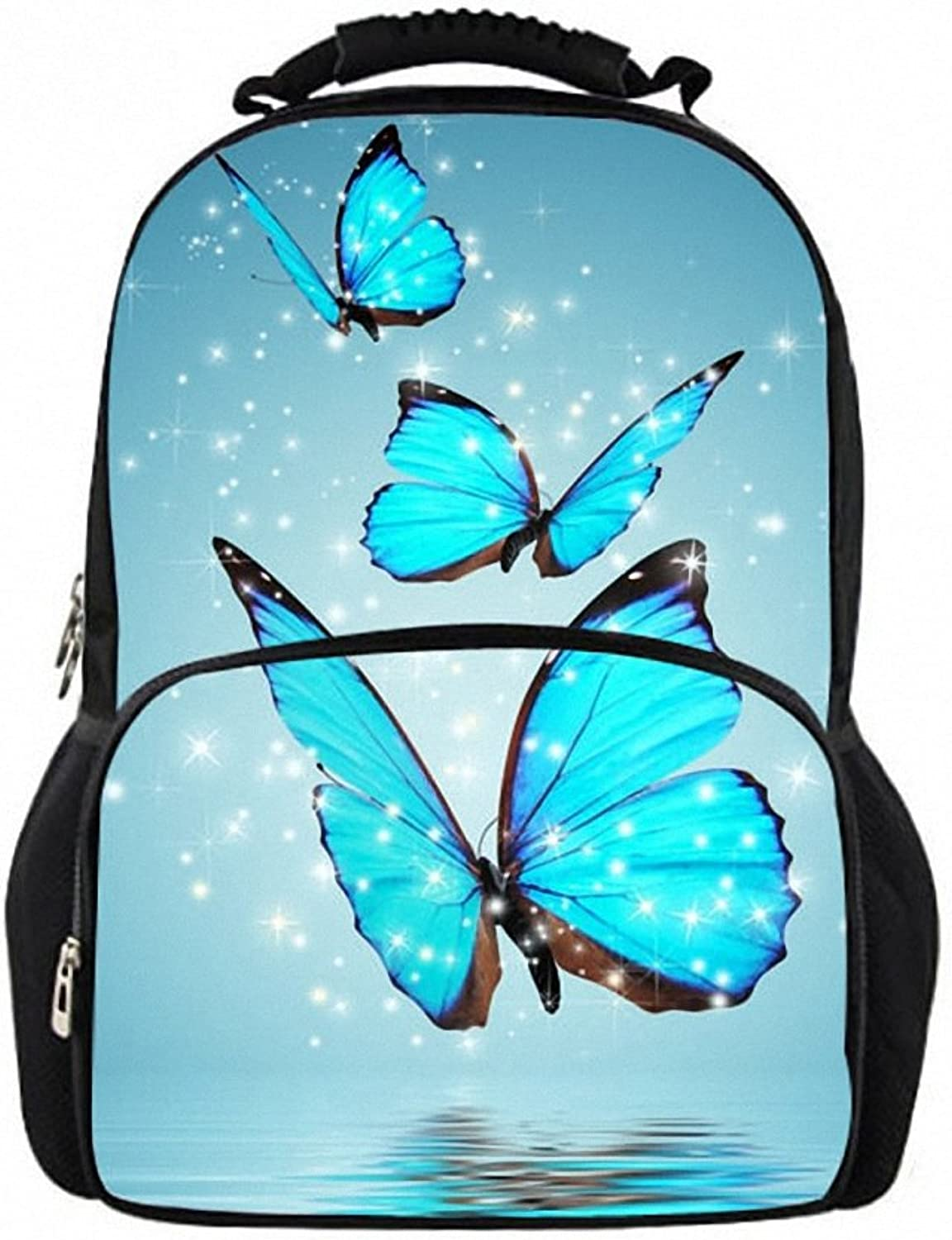 Unisex 3D Backpack Student Bookbag Travel Laptop School Bag Butterfly Teenager Girls Daypack Female Casual Laptop Teenagers W3951A 44x31x18 cm