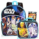 Star Wars Backpack with Lunchbox Set for Boys Kids ~ 3 Pc Bundle with Deluxe 16' Classic Star Wars Backpack, Insulated Lunch Bag, And Stickers (Star Wars School Supplies)