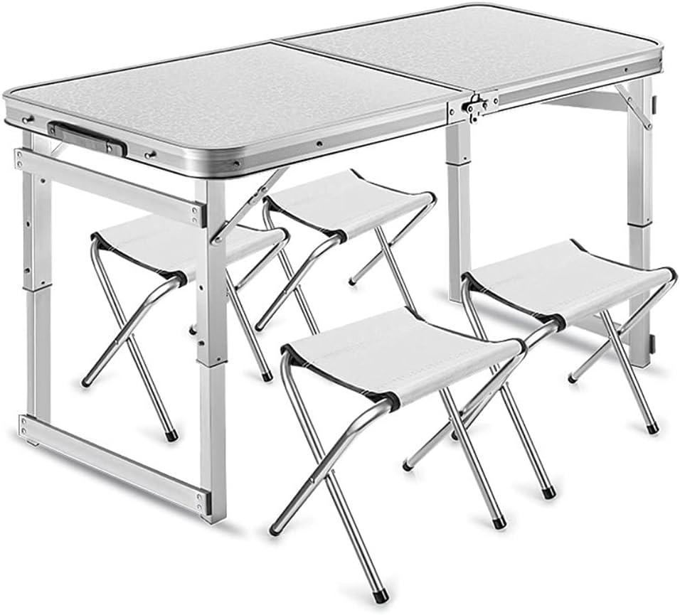 QAZ Mesa Maleta de Aluminio 4 Taburete Plegable Portátil para Acampada Picnic Jardín Terraza Conjunto Muebles Exterior Altura Ajustable (Color : Silver)