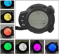WonVon Motorcycle Speedometer,7-Color 12V Motorcycle Instruments Light LCD Digital Gauge Speedometer Odometer Tachometer Meter