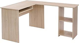 VASAGLE d'angle en Forme de L avec 2 étagères de Rangement, Plateau de Clavier, pour Bureau, 140 x 120 x 75 cm, Couleur chêne