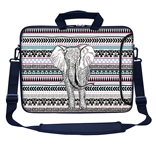 """Meffort Inc 17 17.3 inch Neoprene Laptop Bag Sleeve with Extra Side Pocket, Soft Carrying Handle & Removable Shoulder Strap for 16"""" to 17.3"""" Size Notebook Computer - Elephant Wave Pattern"""