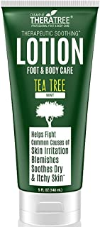 Tea Tree Oil Therapeutic Lotion with Soothing Botanicals Defend Against Common Causes of Skin Irritation, Body Acne, Foot & Body Odour, Ringworm, Athlete's Foot & Antifungal. Soften Dry Skin & Callous