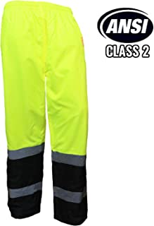 Troy Safety New York Hi-Viz Workwear WP0212 Insulated thermal lined Waterproof Rain Pants Over Trousers (LIME, XL)