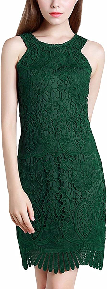 Samtree Women's Halter Lace Dress,Sleeveless Cut Off Shoulder Cocktail Short Sheath Dresses