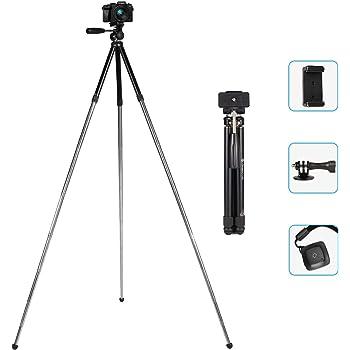 iStabilizer カメラ三脚 ミニ スマホ三脚 124cm アルミ三脚 2WAY雲台 小型軽量 八段式 持ち運びに便利 リモコン付き 旅行用/花火大会用/運動会用 デジタルカメラ/携帯に適用