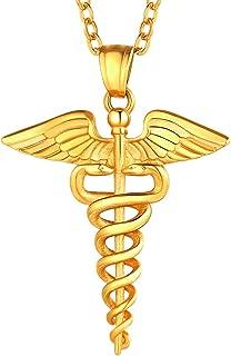 Nurse RN Caduceus Necklace MD Gift Stainless Steel Nursing Angel Pendant, Chain 22