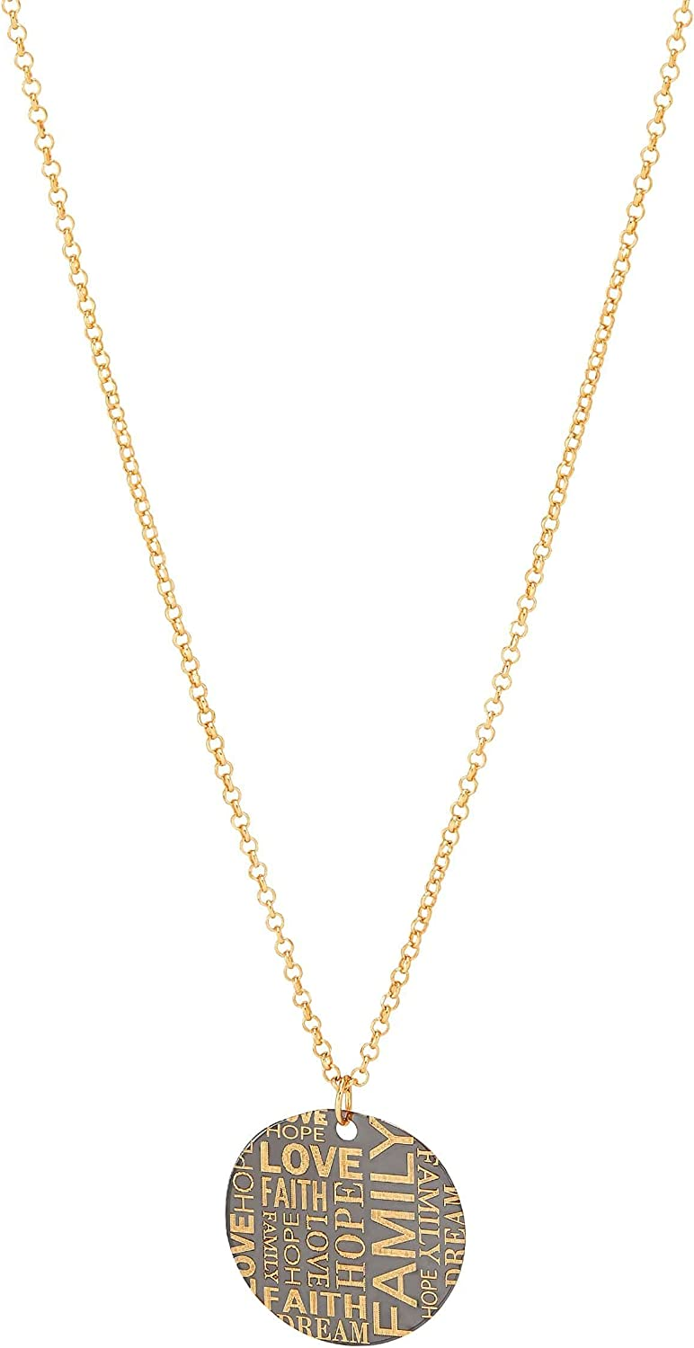Welry 'Inspirational Disc Pendant Necklace' Regular dealer in Yellow Cheap mail order specialty store 14K Gold
