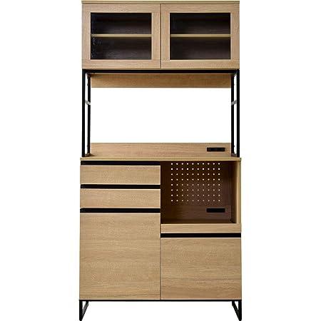 ワイエムワールド キッチン収納 食器棚 幅90 コンセント付き ベティ ナチュラル 58-001