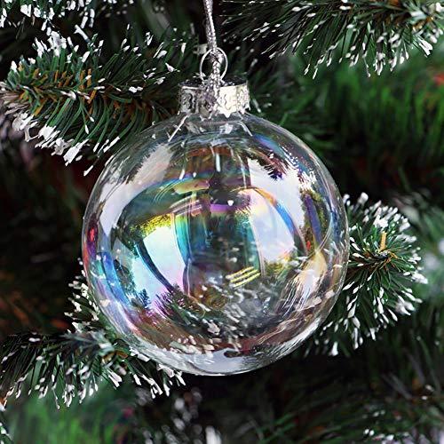 Warmiehomy 5 Palle di Natale, Sfera di Vetro Appesa, Palline Natalizie Iridescenti Ornamenti per Xmas per la Decorazione dell'albero di Natale Matrimoni Compleanno
