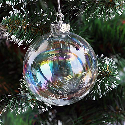 Warmiehomy 5 X Christmas Glass Baubles Clear Iridescent Fillable Ornaments Ball for Christmas Party Birthday Wedding Decorations 10cm
