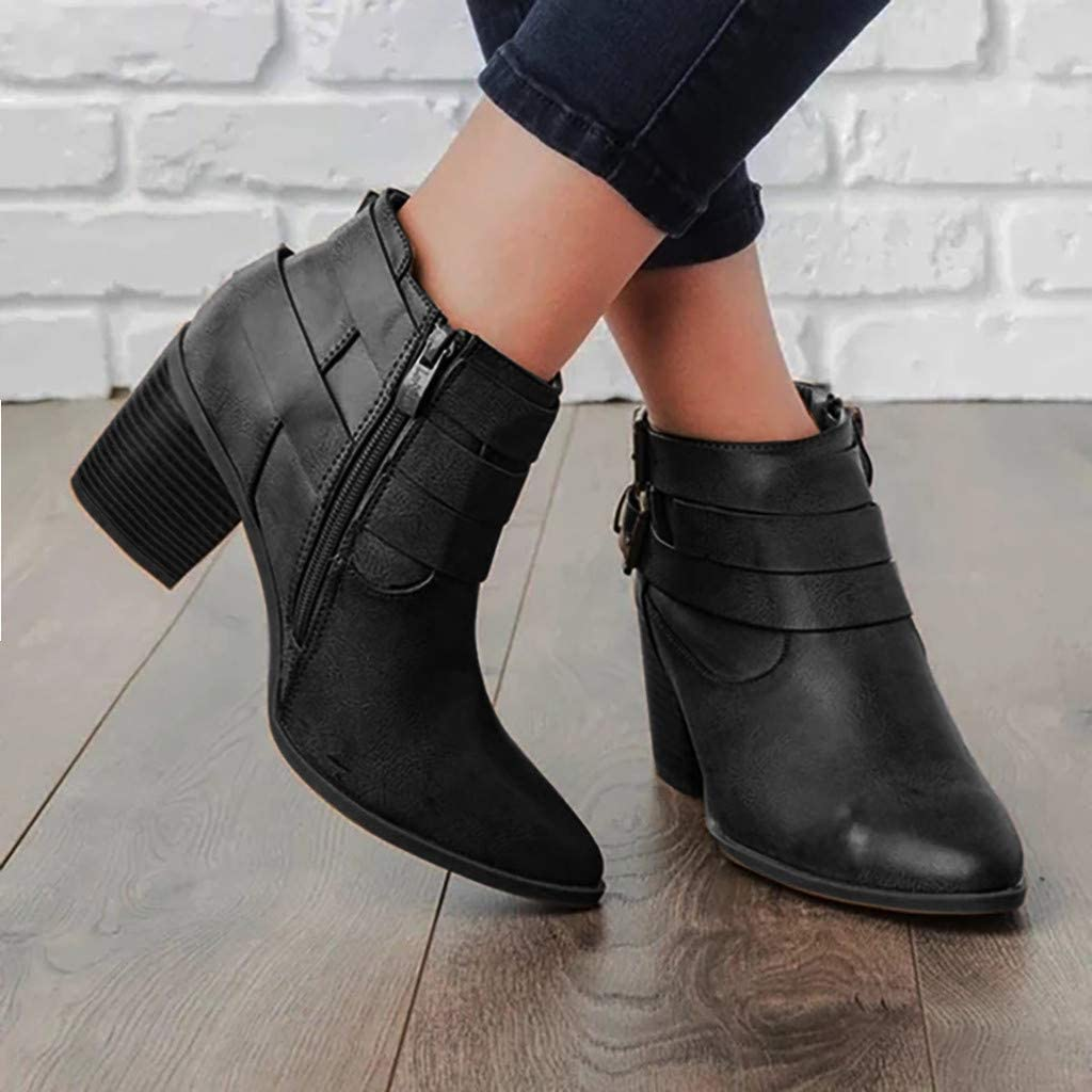 Claystyle Women Autumn Boots Flat Ankle Boots Big Size Winter Women Shoes Slip On Pointed Toe Booties