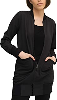Casual Mujer Marca Sudadera Zip Basico Ropa Retro Vintage Rock Vestir Moda Cuello Redondo Manga Larga Slim Fit Designer Cool Urban Fashion Jacket Chaqueta Sueter, Tamaño:L, Colores:Black