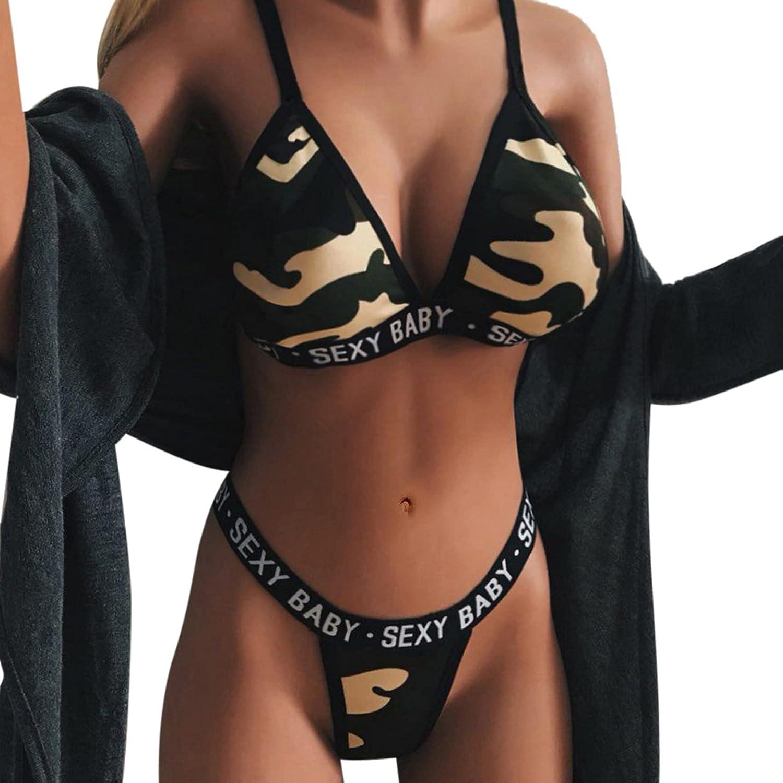 Lingerie Set for Women Two Piece Swimsuit Sexy Swimwear Halter Triangle Bikini Sets Camouflage Lingerie Set