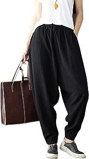 Womens Loose Baggy Harem Drop Crotch Linen Knickerbockers Pants Trousers