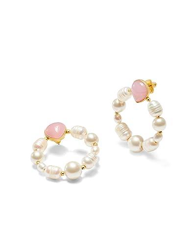 Kate Spade New York Pearl Drops Hoops Earrings (Pink) Earring