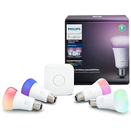 Philips Hue A19 LED Smart Bulb Starter Kit, 4 A19 Bulbs, 1 Hue Hub