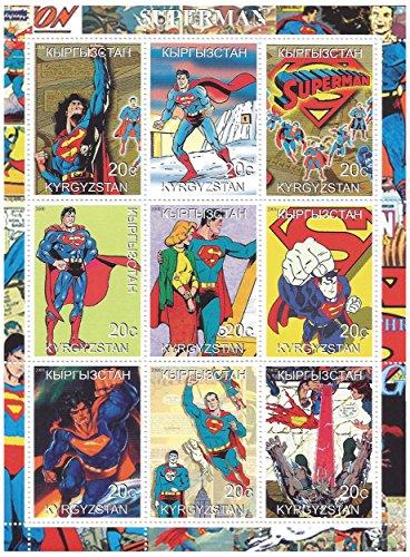 Superman Marvel Heroes francobolli per collezionisti - 9 mint never hinged stamps opere d'arte grafica - perfetto per filatelia