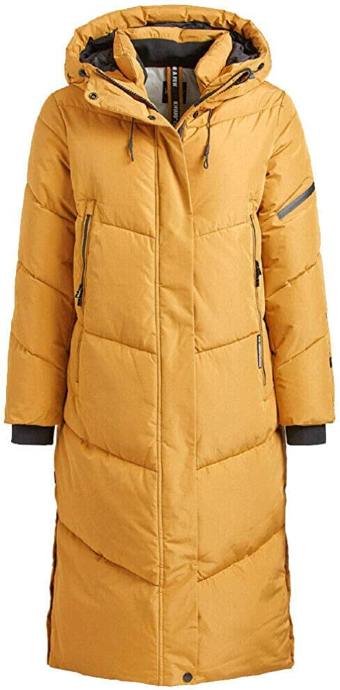 khujo Sonje Damen Mantel Polarmantel Oversized Coat Jacke Gelb