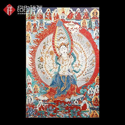 ZSPSHOP Statue Avalokitesvara Buddha Ligne d'or Miller Peintures Thangka Le Bouddhisme Tibétain Tibétain Ne S'efface Pas Thangka Pendentif De Peinture Décorative