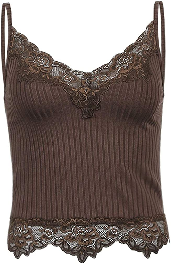 Sdencin Lace Patchwork Y2K Crop Tank Top V-Neck Sexy Sleeveless Backless Spaghetti Strap Camisole Top Shirt