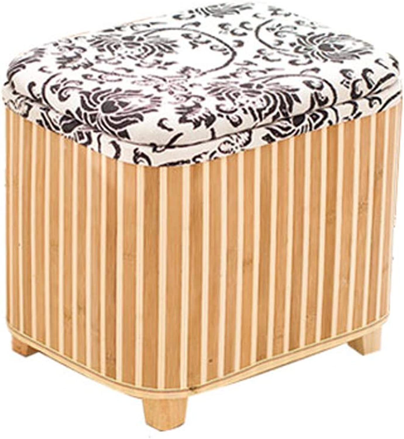 LifeX Nordic Style Flower greenical Stripes Bamboo Storage Stool Box Footstool Home Living Room Sofa Stool Hall Cotton Change shoes Bench Dressing Stool Seat Size Optional (color   S)