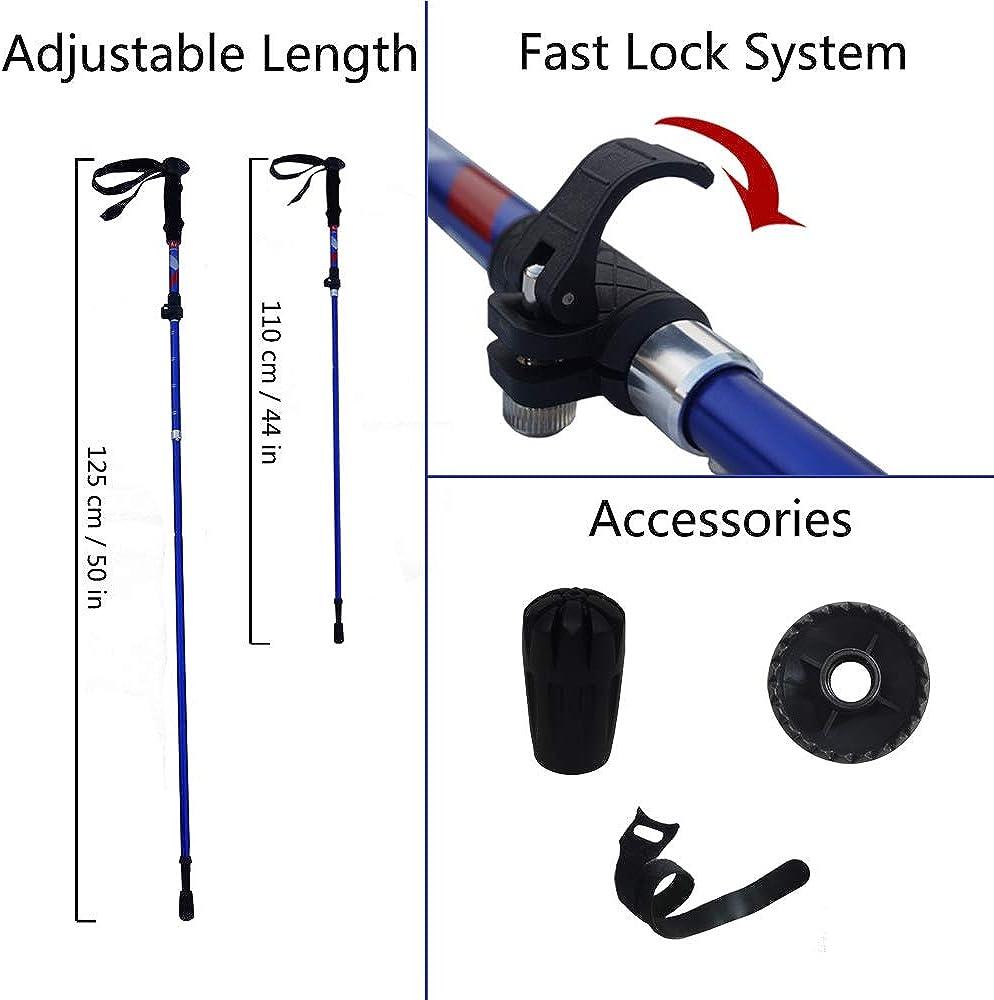 Lightweight Aluminum Adjustable Trekking Sticks with Quick Flip-Lock Acenilen Trekking Poles Collapsible Walking Hiking Sticks