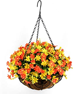 Fall Flower Centerpieces, Hanging Flowers Basket, Artificial Daisies Flowers in Coconut Lining Hanging Baskets for The Dec...